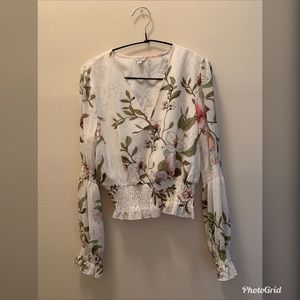 Guess LS Floral Cropped Top